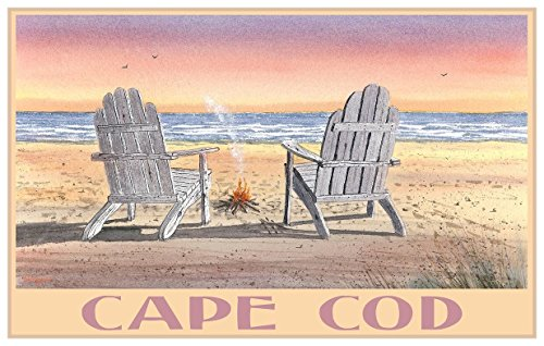 Cape Cod Massachusetts Adirondack Chairs Beach Travel Art Print Poster by Dave Bartholet (12