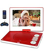 "Jekero 12.5"" Portable DVD Player with 10.1"" HD Swivel Screen, 6 Hours Rechargeable Battery DVD Player Portable for Kids and Car, Support CD/DVD/SD Card/USB with Car Charger and Remote Control ,Red"
