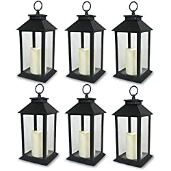 """BANBERRY DESIGNS Decorative Black Lantern - LED Flickering Flameless Pillar Candle with 5 Hour Timer Included - Indoor/Outdoor Lantern - 13"""" - Pack of 6"""