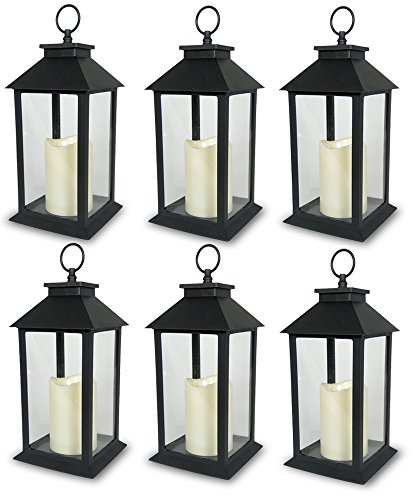 BANBERRY DESIGNS Decorative Black Lantern - LED Flickering Flameless Pillar Candle with 5 Hour Timer Included - Indoor/Outdoor Lantern - 13