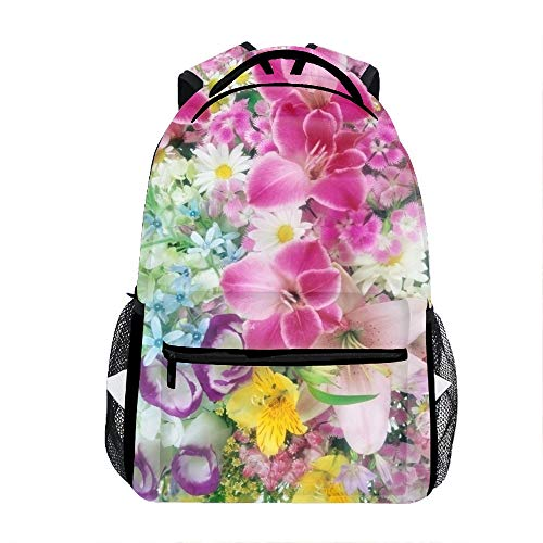 Lilies Roses Carnations Daisies Bouquets Printed Backpack Durable Bookbag