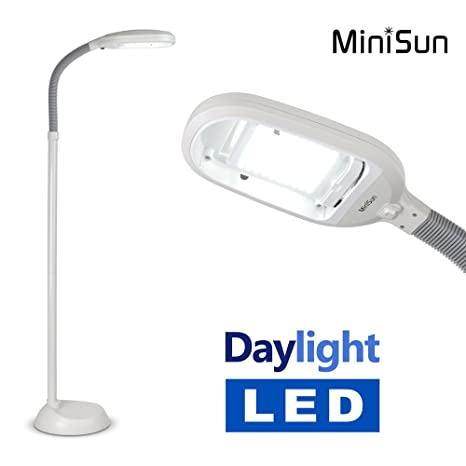 MiniSun - Lámpara de pie ajustable con luz natural LED, de bajo consumo, alta potencia y de color gris