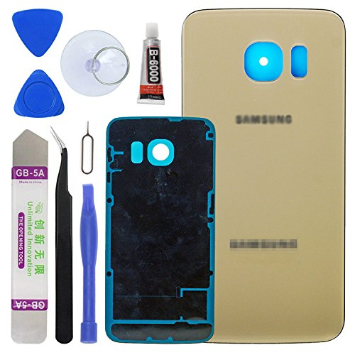 LUVSS New Back Glass Replacement [Samsung Galaxy S6 Edge] G925 (All Carriers) Rear Cover Glass Panel Case Door Housing Adhesive Preinstalled Repair Part (Gold)