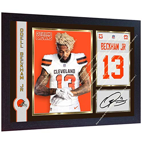 S&E DESING New Odell Beckham Jr NFL Cleveland Browns Signed Autographed Photo Print Framed