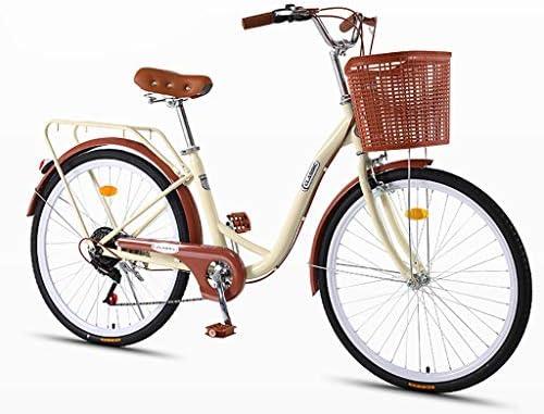 ZXLLO Bicicleta De Mujer De 24 Pulgadas con La Cesta 7 Velocidades ...
