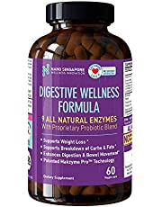 Digestive Wellness Formula - 9 All Natural Enzymes with Propriety Probiotic Blend   Makzyme Pro Technology   (60 Veggie caps)