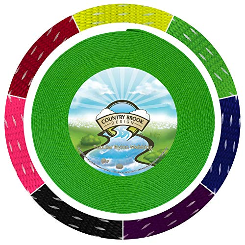 - Country Brook Design 1 Inch Hot Green Climbing Spec Tubular Nylon Webbing, 10.