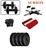 Aurion Pvc 10 Kg Adjustable Fitness Dumbells Set Home Gym With Hand Towel
