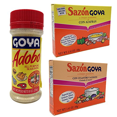 Amazon Com Chefs Secret Ingredient Goya All Purpose Seasoning Bundle With Goya Adobo With Pepper 8 Oz Sazon Goya Con Culantro Y Achiote 1 41 Oz And Sazon Goya Con Azafran 1 41 Oz