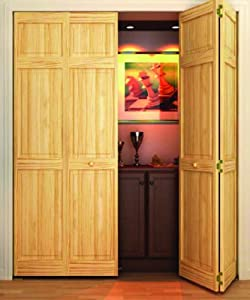 Bi Fold Door Six Panel Style Solid Wood 80x36 Home Kitchen