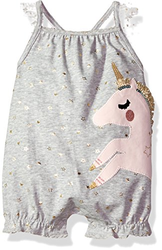 Mud Pie Baby Girls Unicorn Flutter Sleeve Bubble Romper Playwear, Gray, 9-12 Months ()