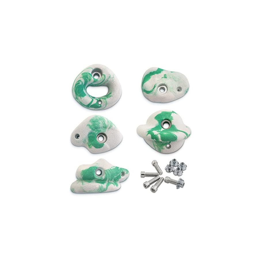 Helium | Rock Climbing Hold Set for Kids and Adults Set of 5 Hand Holds with Screw On Plywood Hardware Kit