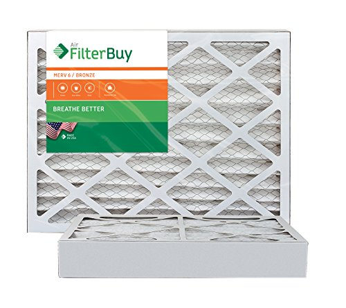 AFB Bronze MERV 6 14x20x4 Pleated AC Furnace Air Filter. Pack of 2 Filters. 100% produced in the USA.