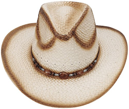 D Diana Dickson Classic Western Structured Curved Brim Straw Cowboy Hat,Nature