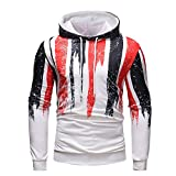 Men's Digital Print Sweatshirts Hooded Top White Pattern Hoodie Super Soft