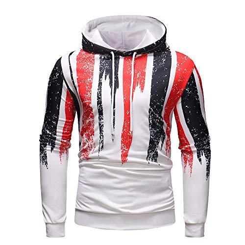 Men's Digital Print Sweatshirts Hooded Top White Pattern Hoodie Super Soft by Sinzelimin Men's Top