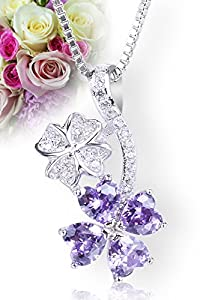 "Startreasureland 925 Sterling Silver Pendant Necklace - 18"" Chain - Crystal Purple Flower"