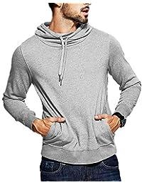 Mens Sweatshirt Gym Sport Hoodie Casual Long Sleeve Drawstring Hooded Fashion Pullover Hoodies with Pockets
