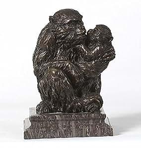 Bronze Monkey Mama and her Baby Statue