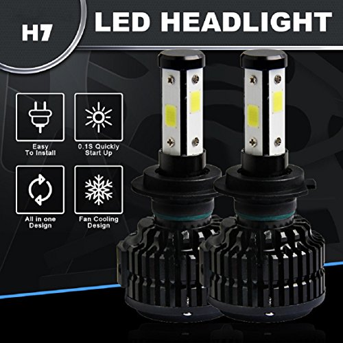 Silver Star Plug (H7 LED Headlight Bulb, 6000K 12800LM H7 HB2 9003 Hi/Lo 4 Sides HID Kit by Coerni)