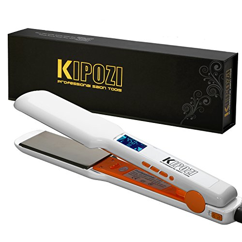 KIPOZI Pro 1.75 Inch Hair Straightener Flat Iron with Nano-Titanium Plate,Digital LCD Display, Dual Voltage ,Keratin Treatment,White