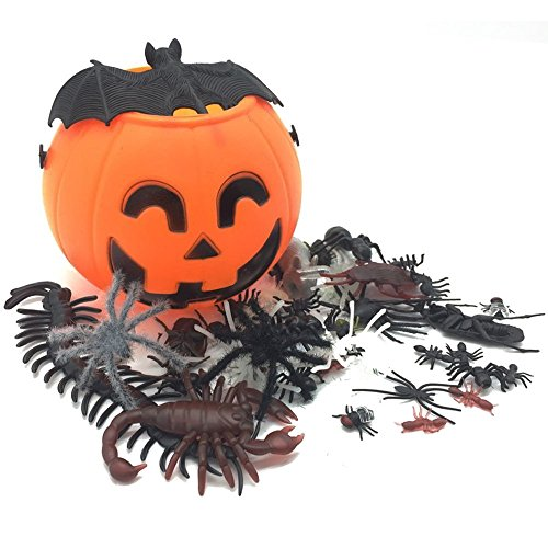 Halloween Pumpkin Bucket for Trick or Treat Jack o Lantern Pail Vintage Round Cute Pumpkin Holder with Realistic Fake Spider Assortment Animal Bugs 50pcs Prank Toy Party Decorations for Kids -