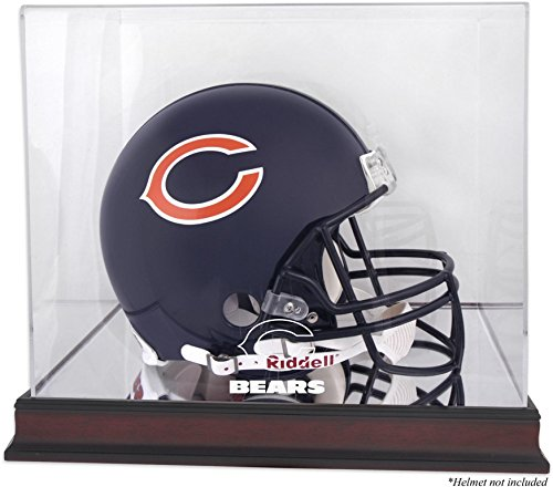 Chicago Bears Mahogany Helmet Logo Display Case and Mirror Bottom and Back