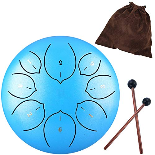 - Steel Tongue Drum - 8 Notes 6 inches - Percussion Instrument -Handpan Drum with Bag, Music Book, Mallets, Finger Picks