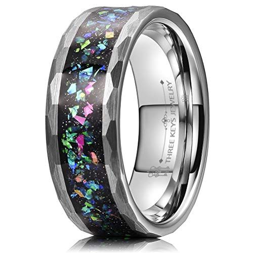 - THREE KEYS JEWELRY 8mm Men's Tungsten Rings Silver Carbide Galaxry Opal Stone Hammered Beveled Multi-Faceted Edge Wedding Bands for Men Size 12