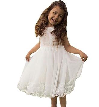 8111e9b28c78 Amazon.com  SPP PANDA Flower Girl Dresses White Summer Dress Lace ...