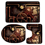 3 Piece Bath Mat Rug Set,Industrial,Bathroom Non-Slip Floor Mat,Steam-Pipes-and-Pressure-Gauger-Vintage-Style-Damaged-Timeworn-Engine-Decorative,Pedestal Rug + Lid Toilet Cover + Bath Mat,Bronze-Dark-