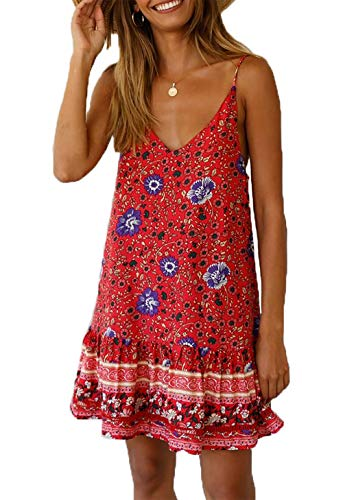 HZSONNE Women's Sleeveless Floral Print Empire Waist Backless Flowy Boho Mini Tank Dress Strappy A Line Beach Sundresses ()