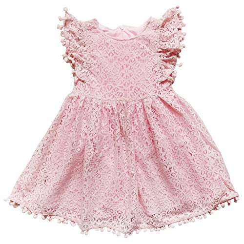 So Sydney Toddler & Girls Eyelet Lace Fancy Dress Collection (XS (2T), Lace & Pom Rose ()