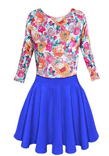 Coolred Length Short Candy Print Floral 3 4 Summer Blue Women Swing Dress pOprqaw