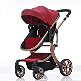 Baby Stroller High Landscape Two way shockproof baby can sit and sleep Baby use four seasons Red