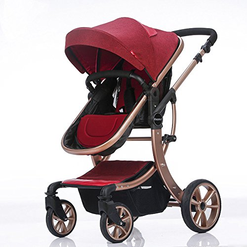 Baby Stroller High Landscape Two way shockproof baby can sit and sleep Baby use four seasons Red by Aimle