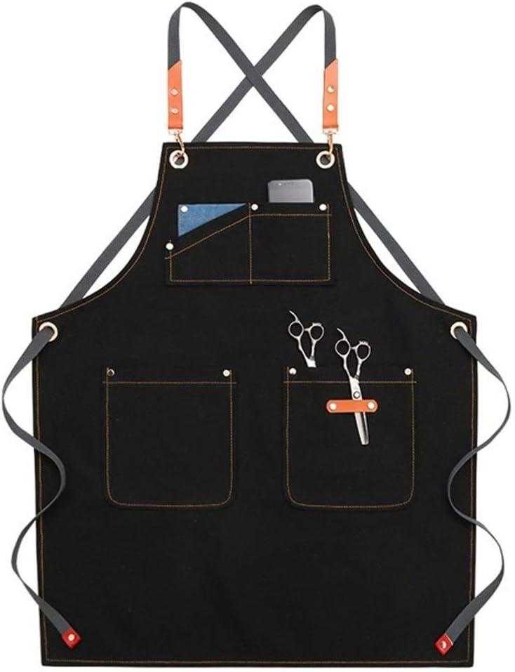 Hjbds Uniforme de la Cocina Delantales de la Lona for la Mujer de los Hombres Cocinero Delantal del Trabajo for la Parrilla Restaurante Bar Tienda Cafés de Belleza Nails Estudios (Color : B6)