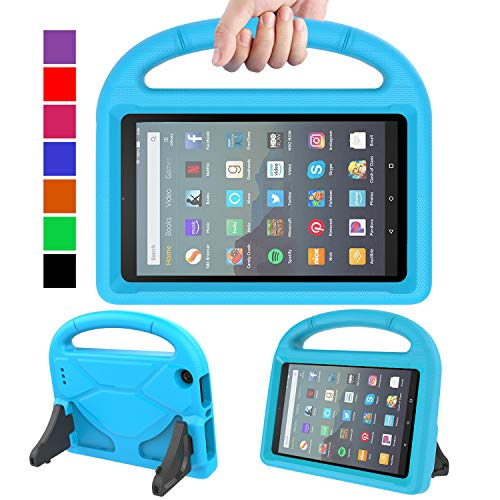 MENZO Kids Case for All-New Fire 7 Tablet (9th Generation - 2019 Release), Light Weight Shockproof Handle Stand Kids Friendly Case for Amazon Fire 7 2019 and 2017 (7 Display), Blue