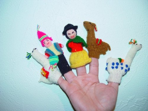 Peruvian Finger Puppets - Inca Man & Woman with Llamas