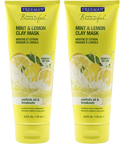 Freeman Feeling Beautiful Mint & Lemon Clay Mask, 6-Ounce, 2 Count Oil Absorbing Clay
