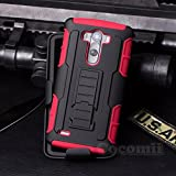 LG G3 Case, Cocomii Robot Armor NEW [Heavy Duty] Premium Belt Clip Holster Kickstand Shockproof Hard Bumper Shell [Military Defender] Full Body Dual Layer Rugged Cover (Red)