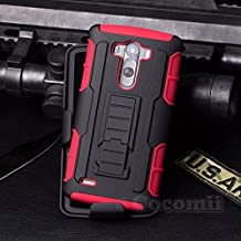 Cocomii Robot Armor LG G3 Case NEW [Heavy Duty] Premium Belt Clip Holster Kickstand Shockproof Hard Bumper Shell [Military Defender] Full Body Dual Layer Rugged Cover for LG G3 (R.Red)