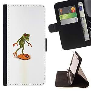 For Samsung Galaxy J3(2016) J320F J320P J320M J320Y Case , Observando Dieta Saludable Rana Blanca- la tarjeta de Crédito Slots PU Funda de cuero Monedero caso cubierta de piel