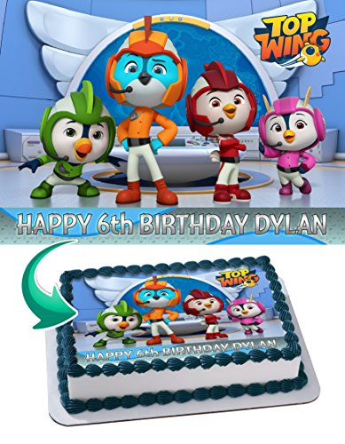 Top Wing Nickelodeon Nick Junior Edible Cake Image Topper Personalized Icing Sugar Paper A4 Sheet Edible Frosting Photo Cake 1/4 ~ Best Quality Edible Image for (Junior Wings)