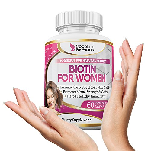 Biotin Extra Strength – Best High Potency Supplement for Women – 5000 mcg Veggie Capsule for Glowing Skin, Nails & Hair Growth, 10000 mcg/Serving – Choose Your Dosage – 1 Month Beauty Supply
