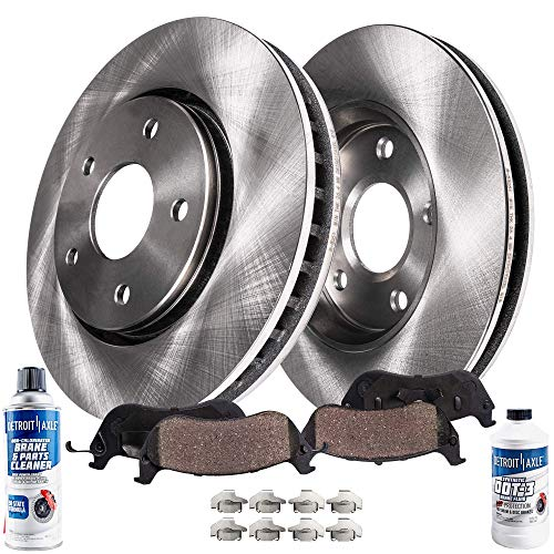 Detroit Axle - Pair (2) Front Disc Brake Rotors w/Ceramic Pads w/Hardware & Brake Cleaner & Fluid for 2013-2018 Ford C-Max Hybrid - [2012-2018 Focus] - 2012-2013 Volvo C30 - [2004-2012 S40]