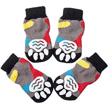 Amazon.com: Pet calcetines W/Goma suelas, s, azul y blanco ...