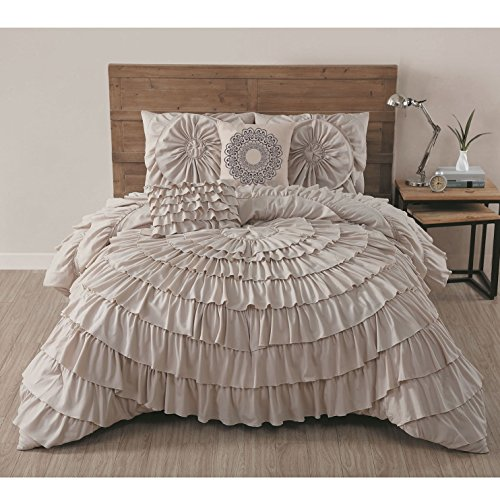 4 Piece Taupe Gypsy Ruffled Comforter Twin Set, Brown Circular Ruffles Pattern Ruched Textured Layered Overlapping Gypsies Hippie Themed Shabby Chic, Hippy Layers Adult Bedding Bedroom, - Gypsy Comforter Set