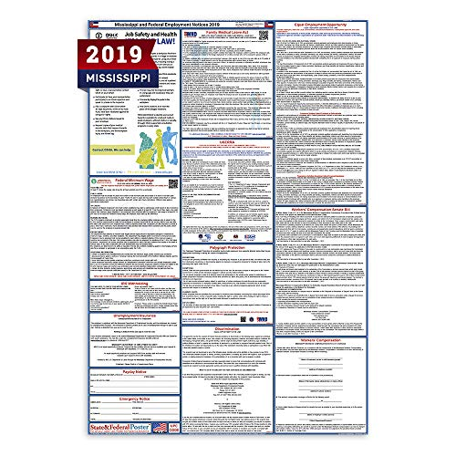 - 2019 Mississippi State and Federal Labor Law Poster - Laminated 27
