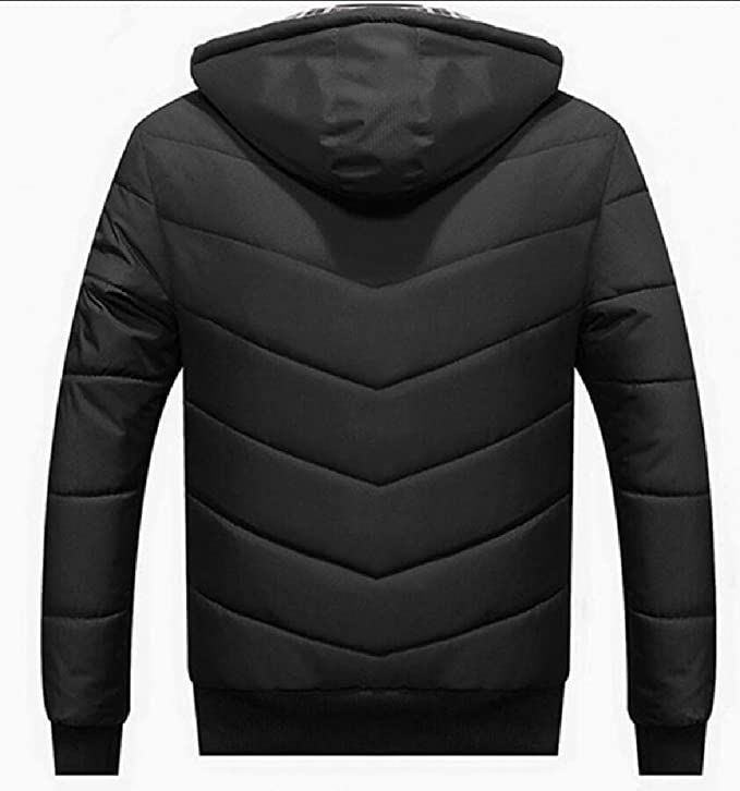 Keaac Men Casual Hooded Zip Thicken Quilted Jacket Blouse